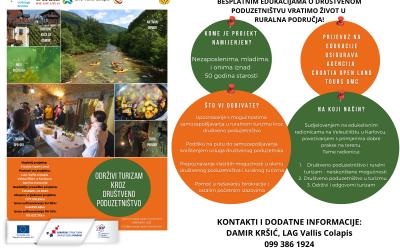 """Obavijest o besplatnoj edukaciji u okviru projekta """"Održivi turizam kroz društveno poduzetništvo"""""""