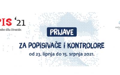 PRIJAVE ZA POPISIVAČE I KONTROLORE POPISA STANOVNIŠTVA 2021.
